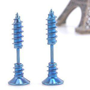 Other - NEW Screw Ear Stud Earrings Steel Punk Metal Nail